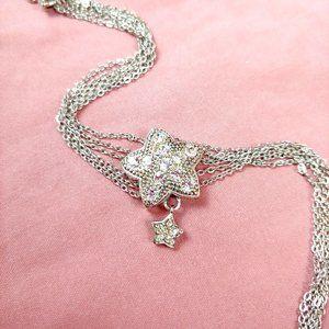 Sterling Silver Star Multi-chain Bracelet w Stones